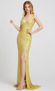 Mac Duggal - 1068L Multi-Toned Sequins V Neck Evening Gown In Yellow