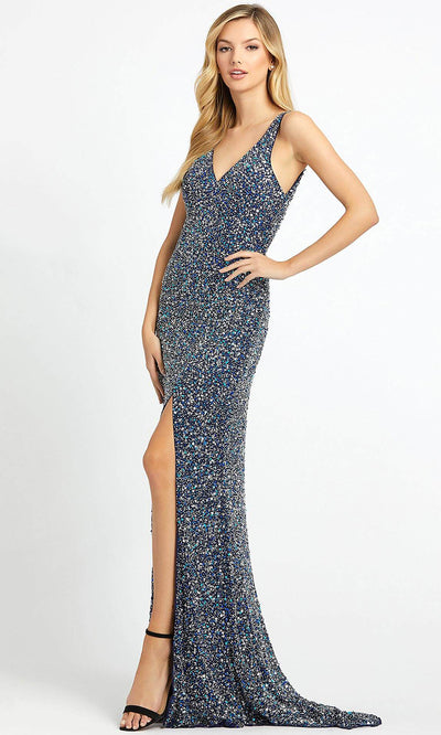 Mac Duggal - 1068L Multi-Toned Sequins V Neck Evening Gown In Blue