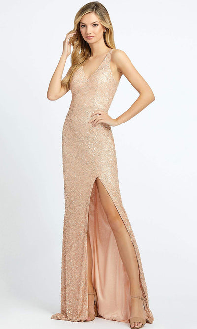 Mac Duggal - 1068L Multi-Toned Sequins V Neck Evening Gown In Pink