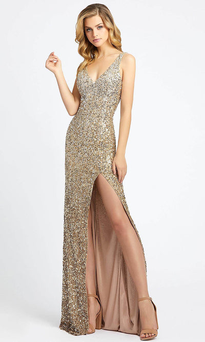 Mac Duggal - 1068L Multi-Toned Sequins V Neck Evening Gown in Champagne and Gold