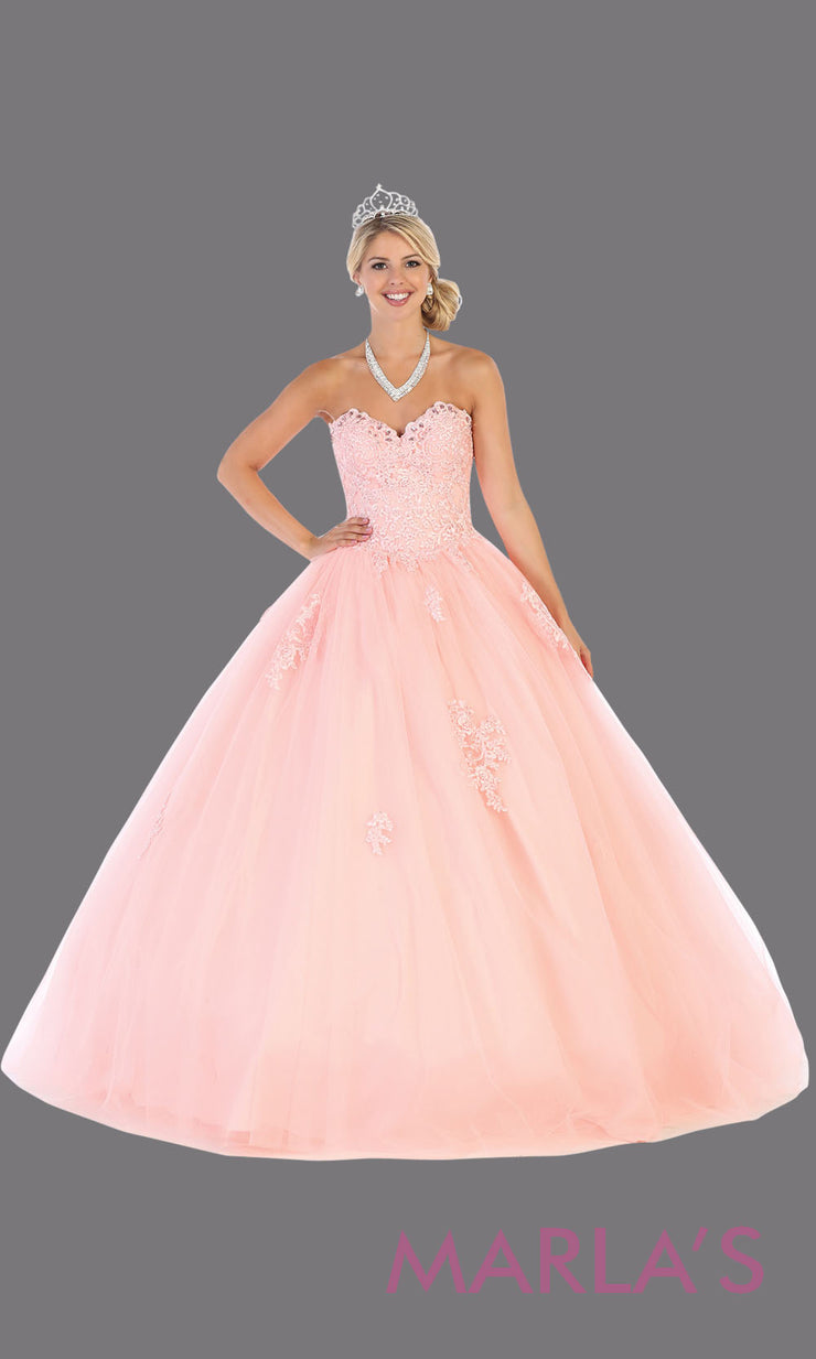 Long blush pink princess quinceanera strapless tube ball gown. Perfect for light pink Engagement ballgown dress, Quinceanera, Sweet 16, Sweet 15,Debut and light pink Wedding bridal Reception Dress.Available in plus sizes