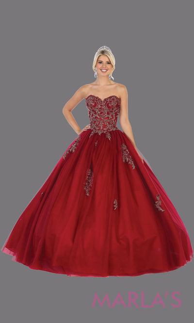 Long burgundy red princess quinceanera strapless tube ball gown. Perfect for dark red Engagement ballgown dress, Quinceanera, Sweet 16, Sweet 15,Debut and deep red Wedding bridal Reception Dress. Available in plus sizes.