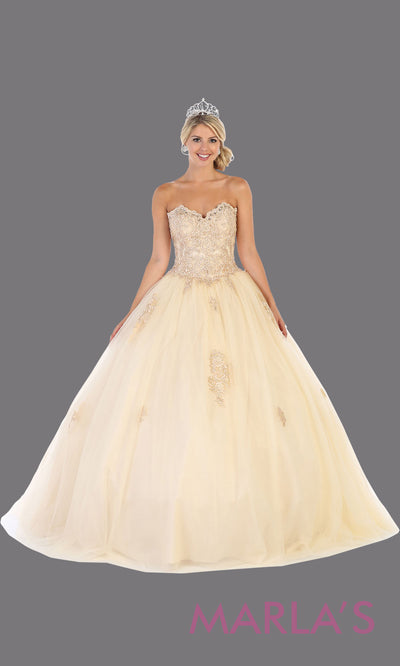 Long champagne princess quinceanera strapless tube ball gown. Perfect for light gold Engagement ballgown dress, Quinceanera, Sweet 16, Sweet 15, Debut and taupe Wedding bridal Reception Dress. Available in plus sizes.