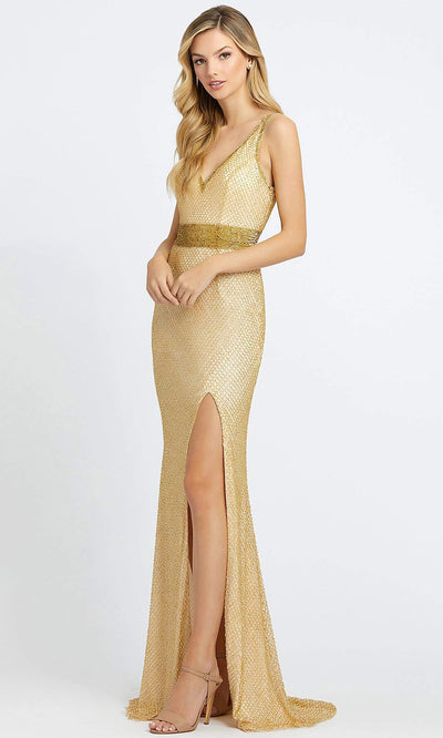 Mac Duggal - 1070L Fully Beaded V Neck Slit Evening Gown In Gold
