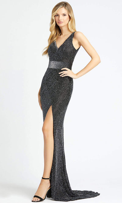 Mac Duggal - 1070L Fully Beaded V Neck Slit Evening Gown In Black