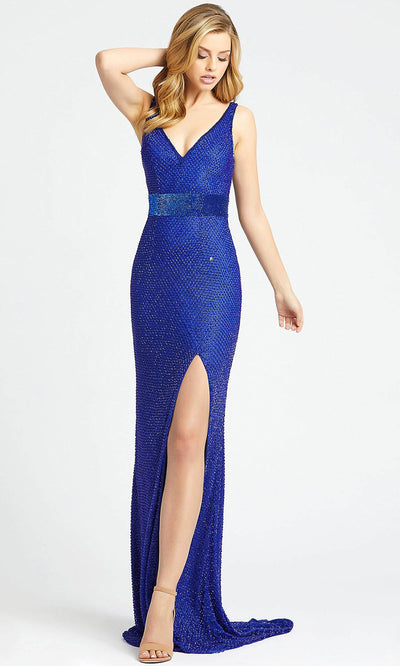 Mac Duggal - 1070L Fully Beaded V Neck Slit Evening Gown In Blue
