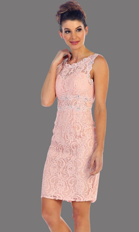 * Short Blush Lace Party Dress