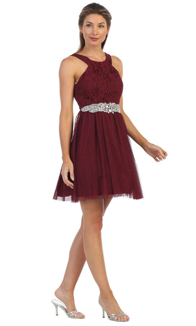 Juno - 1079 Halter Neck Lace and Chiffon Cocktail Dress In Burgundy