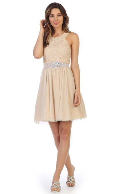 Juno - 1079 Halter Neck Lace and Chiffon Cocktail Dress In Champagne & Gold,