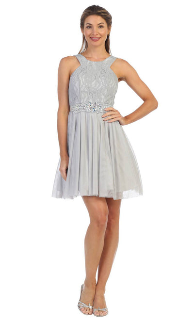 Juno - 1079 Halter Neck Lace and Chiffon Cocktail Dress In Silver & Gray