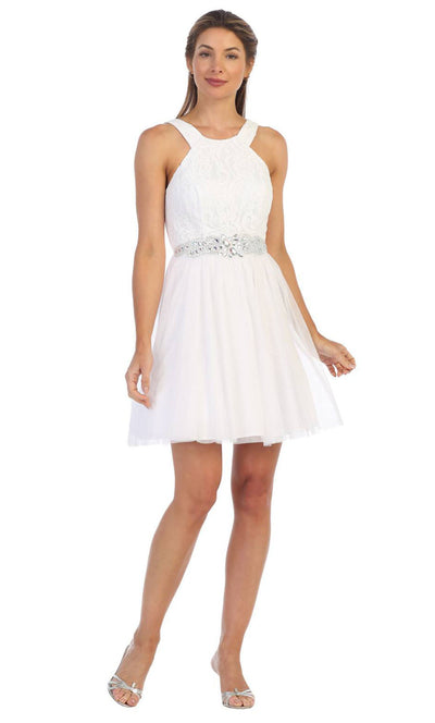 Juno - 1079 Halter Neck Lace and Chiffon Cocktail Dress In White & Ivory