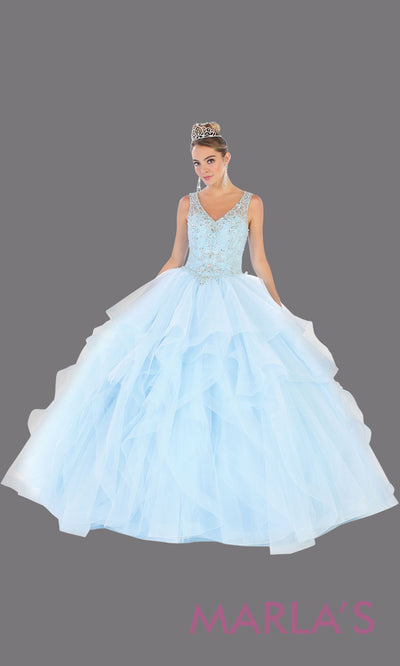 Long aqua blue princess quinceanera ball gown with ruffle skirt.Perfect for light blue Engagement ballgown dress, Quinceanera, Sweet 16,Sweet 15,Debut and aqua blue Wedding bridal Reception Dress.Available in plus sizes.