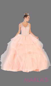 Long blush pink princess quinceanera ball gown with ruffle skirt.Perfect for light pink Engagement ballgown dress, Quinceanera, Sweet 16, Sweet 15, Debut and blush Wedding bridal Reception Dress. Available in plus sizes.