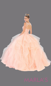 Long blush pink princess quinceanera ball gown with ruffle skirt.Perfect for light pink Engagement ballgown dress, Quinceanera, Sweet 16, Sweet 15, Debut and blush Wedding bridal Reception Dress.Available in plus sizes.