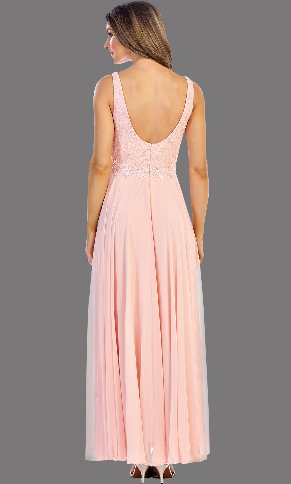 * Long Blush Plunging Neck Dress With Lace Top