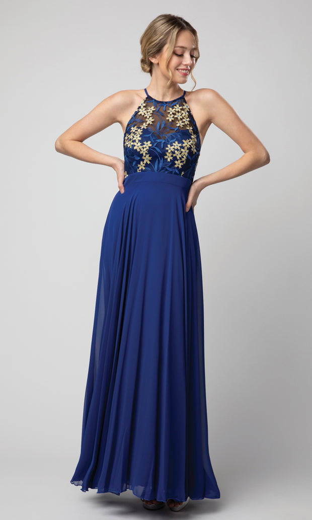 Juno - 1084 Embroidered Halter A-line Gown In Blue