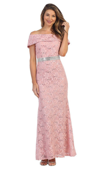 Juno - 1086 Sequined Lace Off Shoulder Sheath Dress In Pink