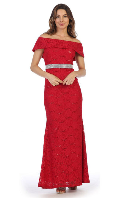 Juno - 1086 Sequined Lace Off Shoulder Sheath Dress In Red