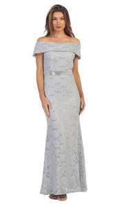 Juno - 1086 Sequined Lace Off Shoulder Sheath Dress In Silver