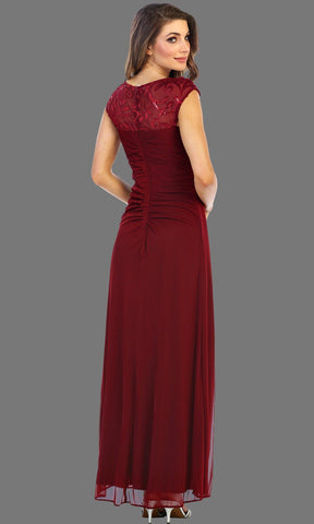 Long Burgundy Flowy Dress With Slit