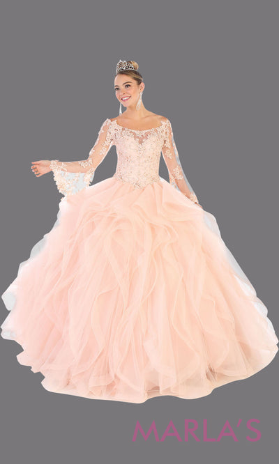 Long blush pink princess quinceanera ball gown with long sleeves.Perfect for light pink Engagement ballgown dress, Quinceanera, Sweet 16, Sweet 15, Debut and pink Wedding bridal Reception Dress. Available in plus sizes.