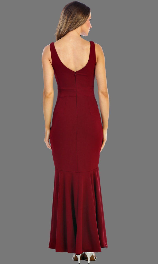 Long Burgundy Simple V Neck Dress