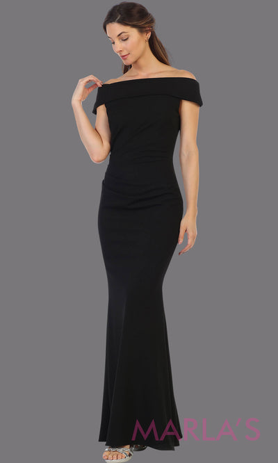 Long off shoulder black fitted evening gown. This formal black gown is perfect as a simple prom dress, bridesmaid dresses, indowestern party dress, mother of the bride dress, black evening party dress. Plus sizes available