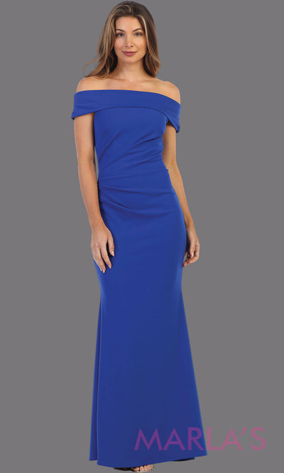 Long off shoulder royal blue fitted evening gown.This formal royal blue gown is perfect as a simple prom dress, bridesmaid dresses, indowestern party dress, mother of the bride dress, blue evening party dress. Plus sizes available