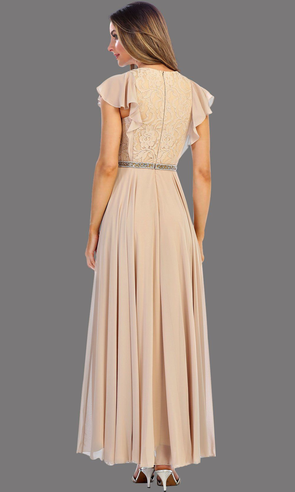 Short Champagne Ruffle Sleeve Dress With Jewel Belt