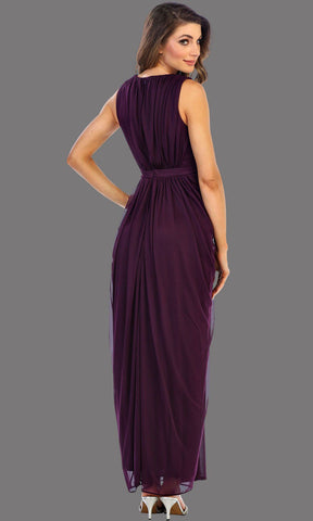 Long Eggplant V Neck Dress With Jeweled Belt