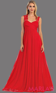 This is a simple long red dress with lace straps. It is a full a-line skirt  and is perfect for your next function. It can be worn as a wedding guest dress, simple red prom dress, or even party dress
