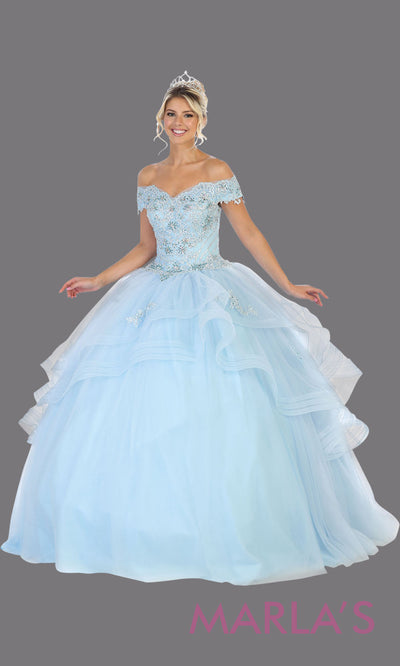 Long aqua blue princess quinceanera off shoulder ball gown. Perfect for light blue Engagement ballgown dress, Quinceanera, Sweet 16, Sweet 15, Debut and aqua blue Wedding bridal Reception Dress. Available in plus sizes.