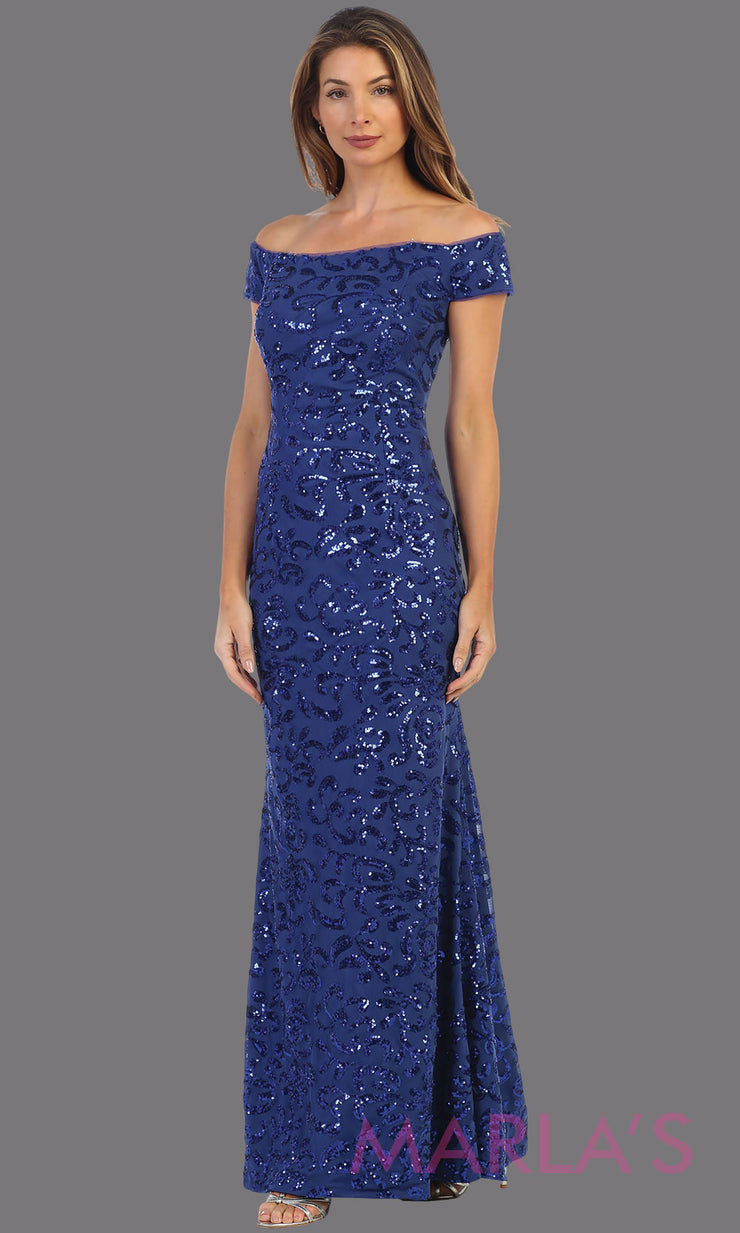 Long sequin beaded royal blue fitted off shoulder formal dress. This beaded evening gown is perfect as a blue prom dress, sequin wedding guest dress, formal beaded gown, indowestern party dress, engagement dress, gala. Plus sizes available
