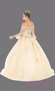 Back of Long champagne princess quinceanera off shoulder long sleeve ball gown. Perfect for light gold Engagement ballgown dress, Quinceanera, Sweet 16, Sweet 15,Debut and Wedding bridal Reception Dress. Available in plus sizes.