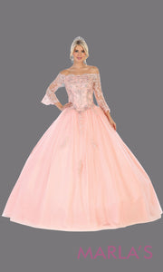 Long blush pink princess quinceanera off shoulder long sleeve ball gown. Perfect for light pink Engagement ballgown dress, Quinceanera, Sweet 16,Sweet 15,Debut and Wedding bridal Reception Dress. Available in plus sizes.