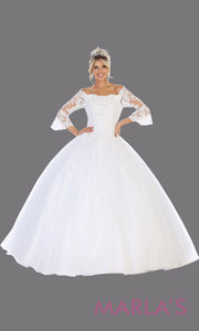 Long white princess quinceanera off shoulder long sleeve ball gown. Perfect for bridal white Engagement ballgown dress, Quinceanera, Sweet 16, Sweet 15, Debut and Wedding bridal Reception Dress. Available in plus sizes.