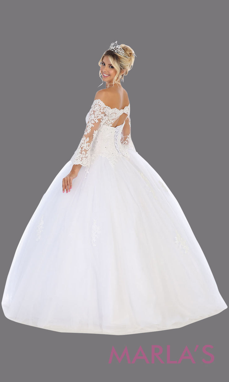 Back of Long white princess quinceanera off shoulder long sleeve ball gown. Perfect for bridal white Engagement ballgown dress, Quinceanera, Sweet 16, Sweet 15, Debut and Wedding bridal Reception Dress. Available in plus sizes.