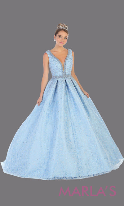 Long aqua blue princess quinceanera v neck ball gown with straps.Perfect for light blue Engagement ballgown dress, Quinceanera, Sweet 16, Sweet 15, Debut and blue Wedding bridal Reception Dress. Available in plus sizes.