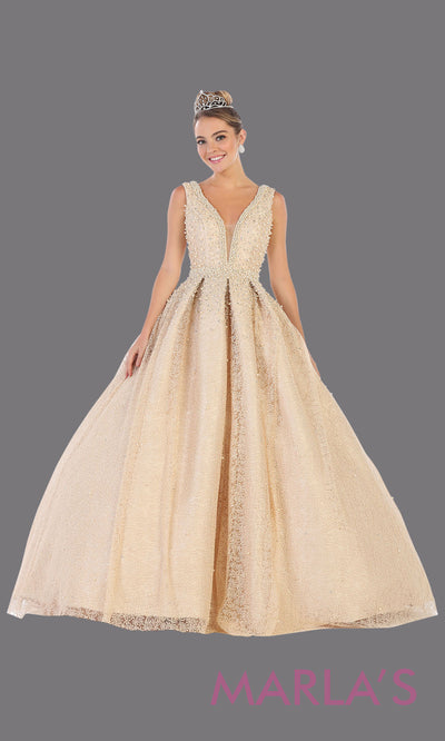 Long champagne princess quinceanera v neck ball gown with straps.Perfect for light gold Engagement ballgown dress, Quinceanera, Sweet 16, Sweet 15, Debut and taupe Wedding bridal Reception Dress. Available in plus sizes.