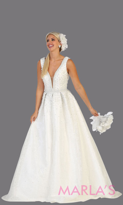 Long white princess quinceanera v neck ball gown with straps.Perfect for white Engagement ballgown dress, Quinceanera, Sweet 16, Sweet 15, Debut and white Wedding bridal Reception Dress. Available in plus sizes.