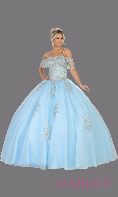 Long aqua blue princess quinceanera off shoulder ball gown. Perfect for light blue Engagement ballgown dress, Quinceanera, Sweet 16, Sweet 15,Debut and aqua blue Wedding bridal Reception Dress. Available in plus sizes.