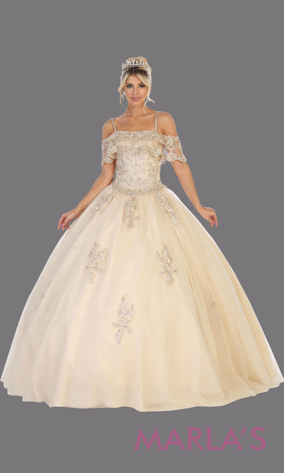 Long champagne princess quinceanera off shoulder ball gown. Perfect for light gold Engagement ballgown dress, Quinceanera, Sweet 16, Sweet 15, Debut and taupe Wedding bridal Reception Dress. Available in plus sizes.