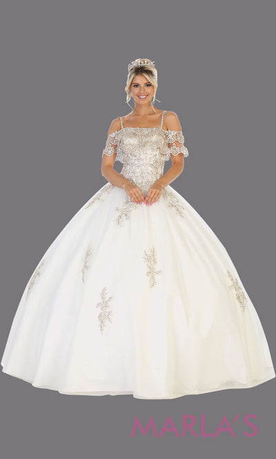 Long white princess quinceanera off shoulder ball gown. Perfect for bridal white Engagement ballgown dress, Quinceanera, Sweet 16, Sweet 15,Debut and white Wedding bridal Reception Dress. Available in plus sizes.
