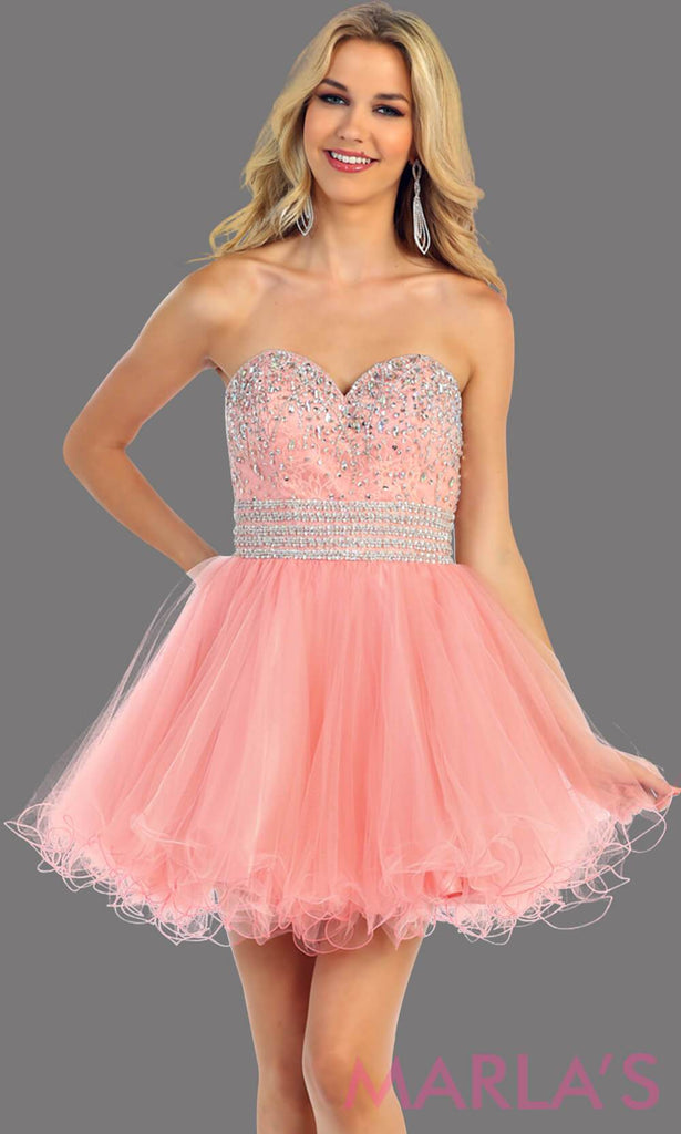 Short puffy white-pink dress with a beaded bodice feature a sweetheart neckline and empire waist that flow into layers of tulle. This light pink dress has a corset back and avail in plus size. Perfect for grade 8 graduation