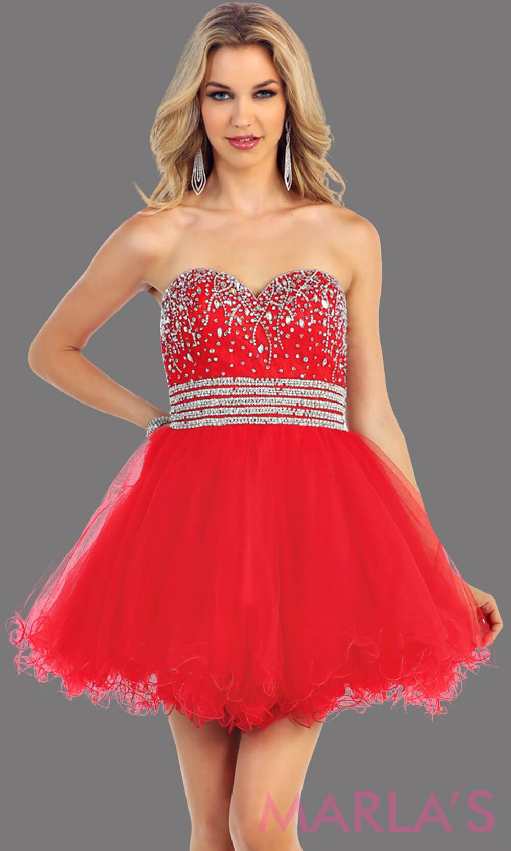 Short puffy red dress with a beaded bodice features a sweetheart neckline and empire waist that flows into layers of tulle. This red dress has a corset back and is avail in plus size. Perfect for grade 8 graduation