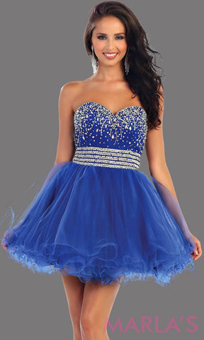 Short puffy royal blue dress with a beaded bodice feature a sweetheart neckline and empire waist that flows into layers of tulle. This blue dress has a corset back and is avail in plus size. Perfect for grade 8 graduation
