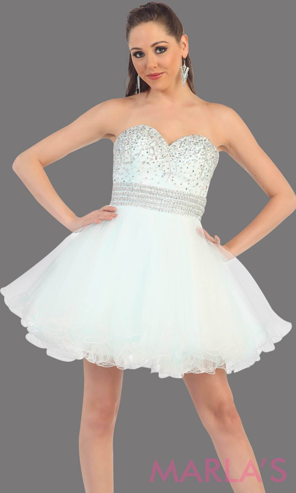 Short puffy white-aqua dress with a beaded bodice feature a sweetheart neckline and empire waist that flow into layers of tulle. This two tone dress has a corset back and avail in plus size. Perfect for grade 8 graduation