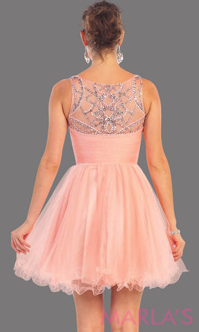 1140-Back of short blush puffy grade 8 grad dress with sequin mesh back. This is the perfect pink graduation dress, silver short prom dress, confirmation dress, sweet 16 dress, homecoming, or gray damas dress. Available in plus sizes