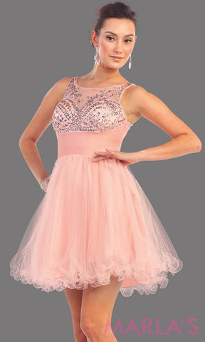 1140-Short blush puffy grade 8 grad dress with sequin mesh back. This is the perfect pink graduation dress, silver short prom dress, confirmation dress, sweet 16 dress, homecoming, or gray damas dress. Available in plus sizes