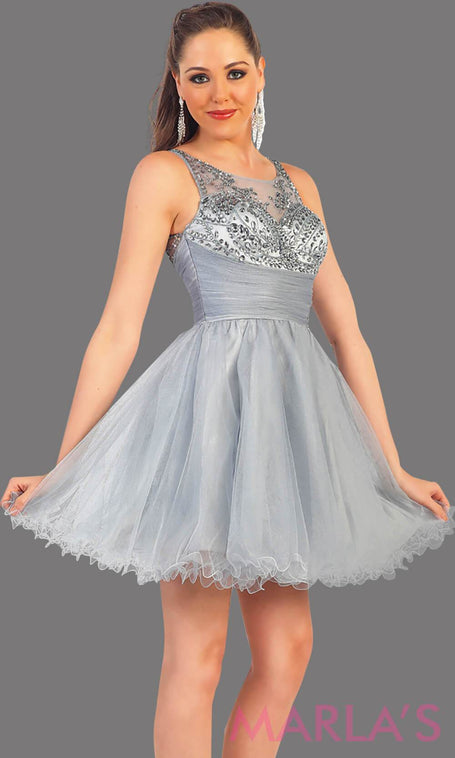 1140-Short gray puffy grade 8 grad dress with sequin mesh back. This is the perfect graduation dress, light silver short prom dress, confirmation dress, sweet 16 dress, homecoming, or gray damas dress. Available in plus sizes
